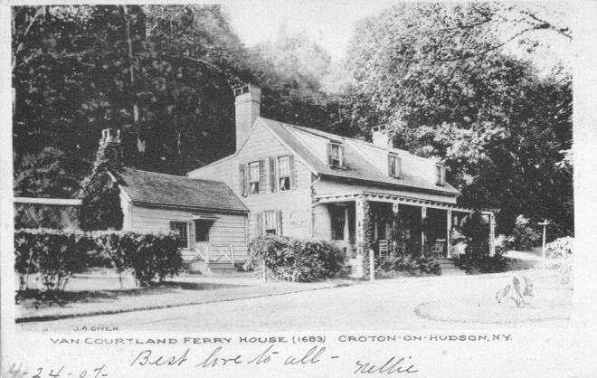 A postcard of the Van Cortlandt Manor Ferry House, circa 1907.