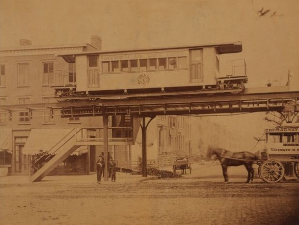 Cable car #1 of the West Side and Yonkers Patent Railway Company, shown in 1869 at the 29th Street Station.