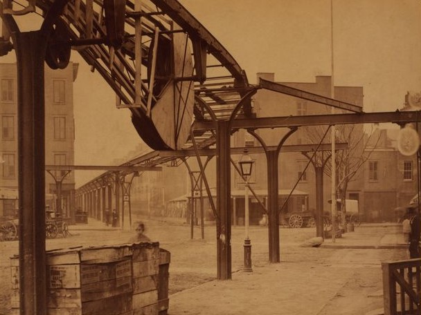 The line at 9th Avenue and Gansevoort Street, showing the cable mechanism under the tracks.