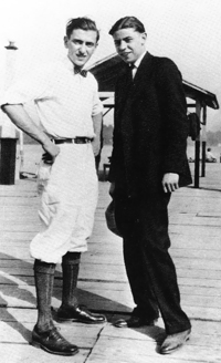 Oscar Levant at 17 (right), with his brother Howard on the boardwalk in Atlantic City.