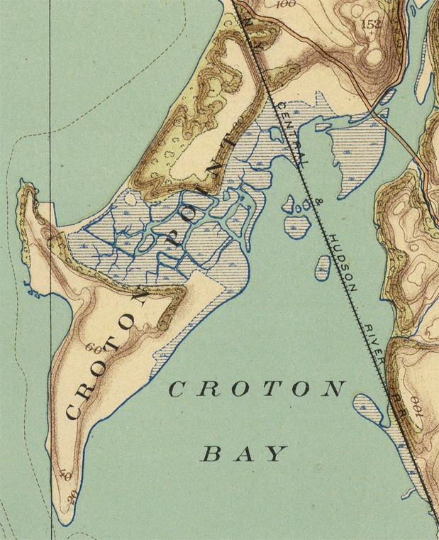 This detail of Croton Point is from a topographic map published in 18911, but it is probably the most accurate depiction of the water courses in the marsh area as it was in 1905 when this article was written.