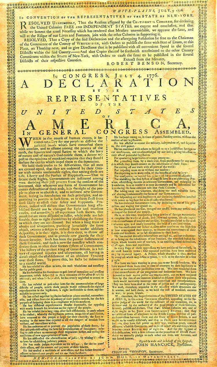 A rare copy of the broadside of the Declaration of Independence, printed by John Holt for the Convention of Representatives of the State of New York, after their meeting of July 9, 1776. Courtesy of the Westchester County Archives.