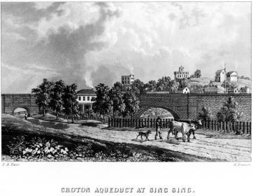 View looking east, showing the smaller arch over what is today Aqueduct Street on the far left. F.B. Tower, Illustrations of the Croton Aqueduct, New York: Wiley and Putnam, 1843.