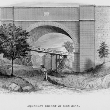 Lithograph showing the wooden bridge built under the aqueduct arch sometime after 1839. From F.B. Tower, Illustrations of the Croton Aqueduct, New York: Wiley and Putnam, 1843.
