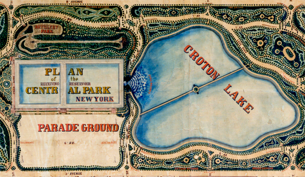 """Detail from John Rink's """"Plan of the Central Park, New York: Entry no. 4 in the Competition,"""" March 20, 1858. New-York Historical Society Library."""