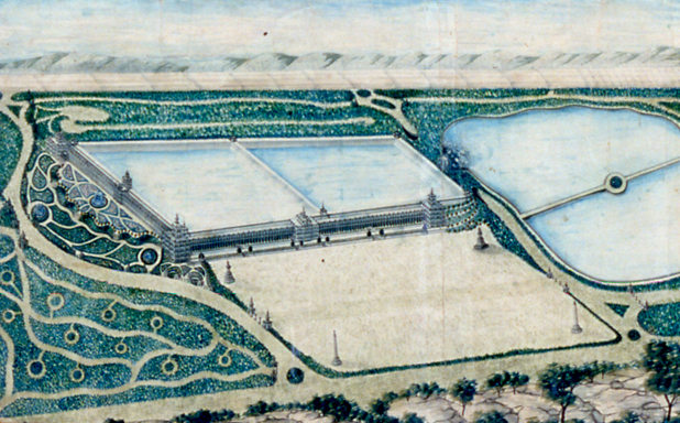Rink's plan included a monumental museum structure, along the south and east sides of the Croton Reservoir.