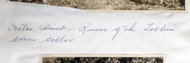 Case's notation in his photo album correctly notes the place and subject, but incorrectly attributes the wine cellars to the Teller family.