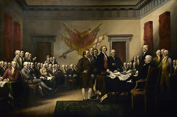 John Trumbull's Declaration of Independence, depicting the presentation of the draft of the Declaration of Independence to Congress.