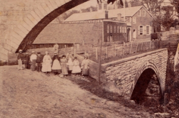 """This detail from the previous image likely shows students from """"School No. 1"""" which was west of the Arcade File Works on the other side of the Double Arch."""