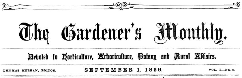 Gardner's Monthly Masthead 9-1-1859