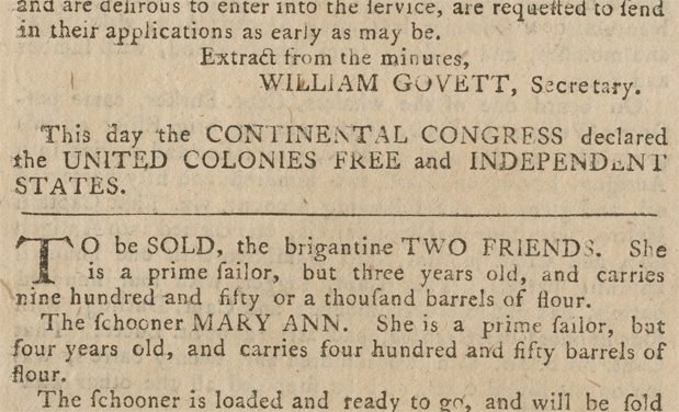 The announcement of independence appeared on the last page, above an advertisement for the sale of two ships.