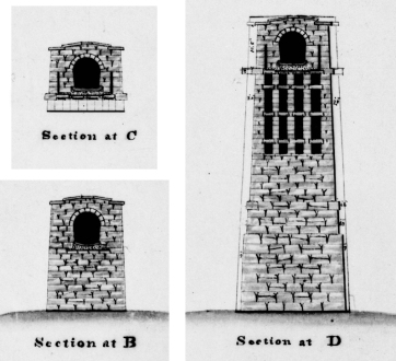 Cutaway views showing interior construction, circa 1837. See previous image, which shows where these sections were located.