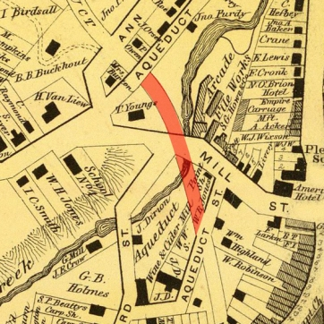Detail from an 1868 map of Sing Sing with the Aqueduct Arch marked in red. Note the location of the Arcade File Works, to the east of the arch, and School No. 1, to the west. From the Atlas of New York and Vicinity by F.W. Beers, courtesy David Rumsey Map Collection. davidrumsey.com