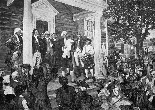 Reading of the Declaration of Independence, White Plains, July 11, 1776. From a painting by George Albert Harker. Courtesy of the Library of Congress.