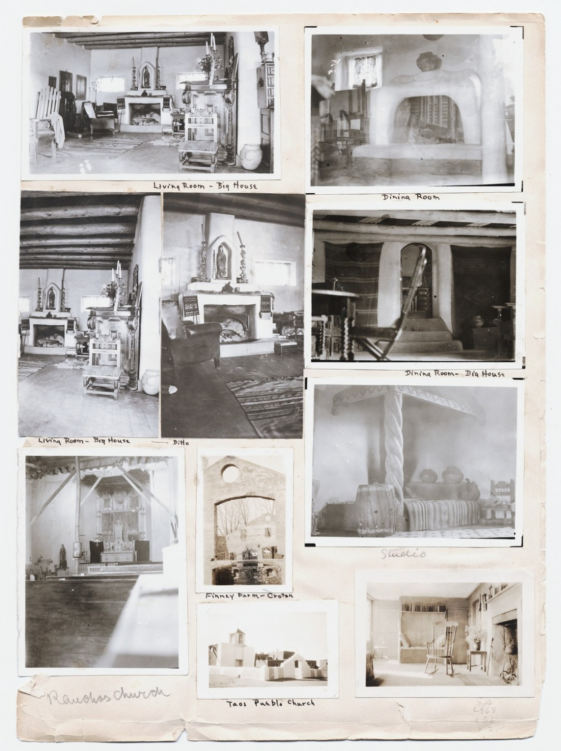 Photographs of Mabel Dodge Luhan's residences mounted on album page.