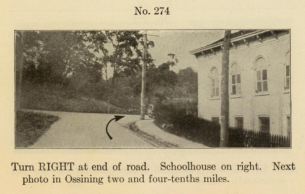 Detail from Photo-auto maps showing the route going south, with the Crotonville School (today the Parker-Bale American Legion Post No. 1597) on the right.