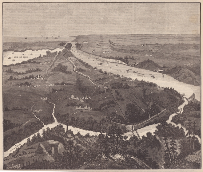 The Old and New Croton Aqueduct System, looking south from Putnam County. Scientific American, 1887. Click to enlarge.