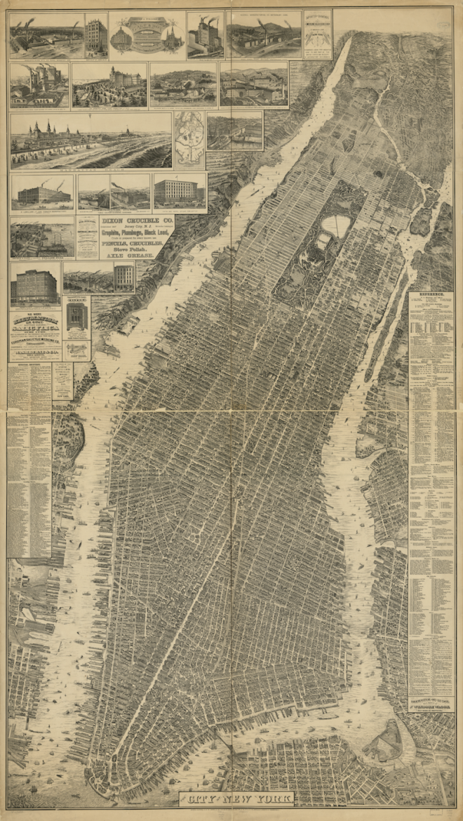 The City of New York. Will L. Taylor, chief draughtsman. New York, Galt & Hoy, 1879. Courtesy of the Library of Congress. Click to enlarge.