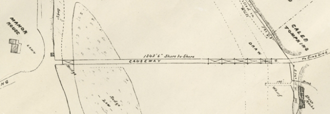 This detail from an 1871 survey of the mouth of the Croton River shows that at one point there was a drawbridge on the southern end of the Van Cortlandt bridge. The strip in the river marked with dotted lines was a channel for ships. Also note the small building at the end of the causeway on the left. This is the building shown in the stereoview above.