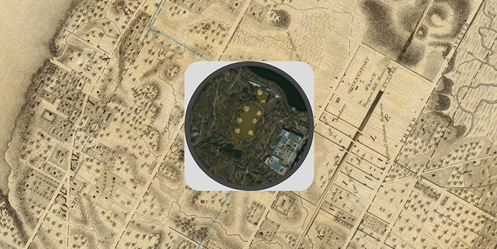 Colton's 1836 map of the sparsely populated area around Central Park. The satellite image in the middle shows the location of what was the Croton Aqueduct Receiving Reservoir (the six yellow dots—probably baseball fields). The large building in the lower right of the satellite image is the Metropolitan Museum of Art. Click to enlarge.