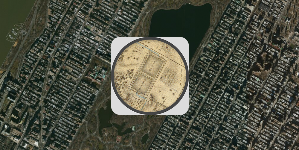 Swapping the images we see Manhattan 177 years later, with Colton's 1836 map in the middle.