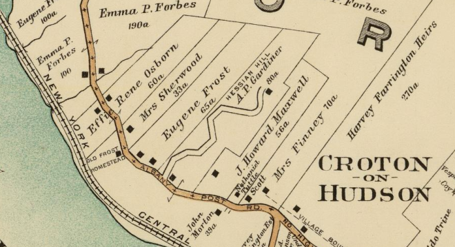 A 1908 map showing the location of A.P. Gardiner's Hessian Hill estate. From Atlas of the rural country district north of New York City . . . by E. Belcher Hyde, 1908. Plate 12.