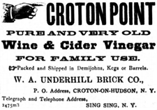 "Ad for ""Pure and Very Old Wine & Cider Vinegar"" for sale at Croton Point from The Highland Democrat, June 17, 1893."