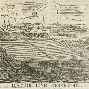 The Distributing Reservoir was located where the New York Public Library and Bryant Park are today.