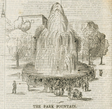 The fountain in Central Park, which was then under construction.