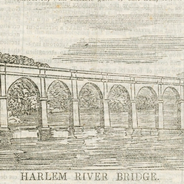 A woodcut showing what became known as High Bridge, which was then under construction,