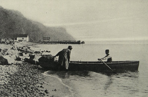 Shad fishermen starting out with their net. Photo by Clifton Johnson from his book The Picturesque Hudson, 1909.