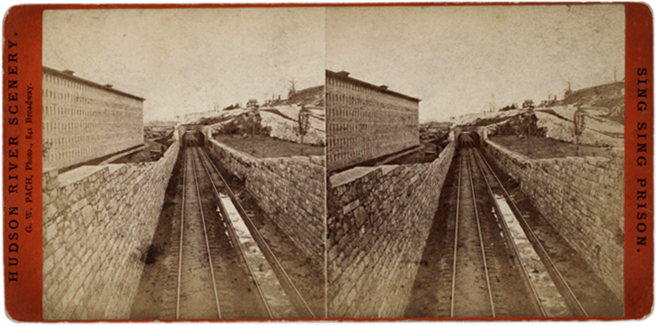 Hudson River Railroad tracks running through Sing Sing Prison. Stereoview by G. W. Patch.