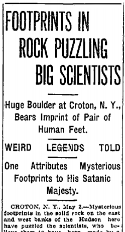 Article from the Syracuse Journal, May 2, 1913, one of the many New York papers which carried the Devil's Footprints story.