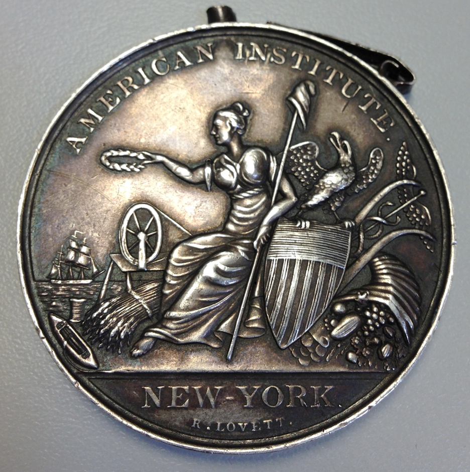 Front of the silver medal awarded to R.T. Underhill in 1847.