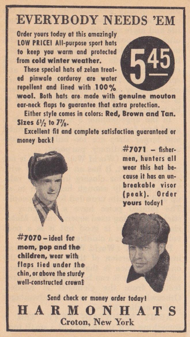 Harmon Hats ad Outdoorsman 10-1949