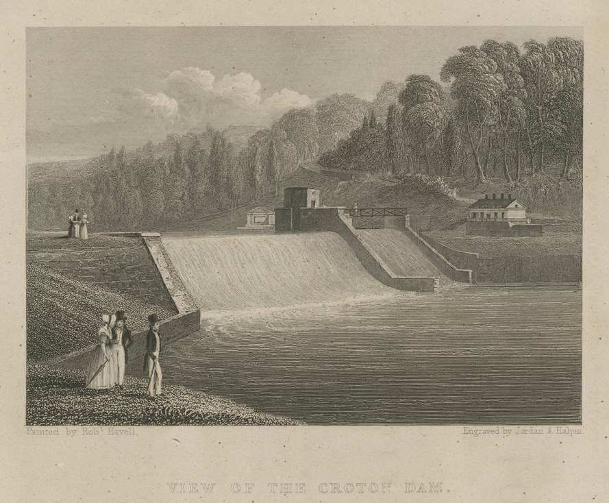 View of the Croton Dam, from a painting by Robert Havell. This print is the frontispiece of Charles King's 1843 book, A Memoir of the Construction, Cost, and Capacity of the Croton Aqueduct . . ., which is available free online. Click the image to enlarge it.