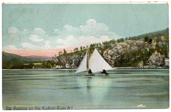 Ice Boating on the Hudson River, N.Y. Post card by the Hugh C. Leighton Co., circa 1910.