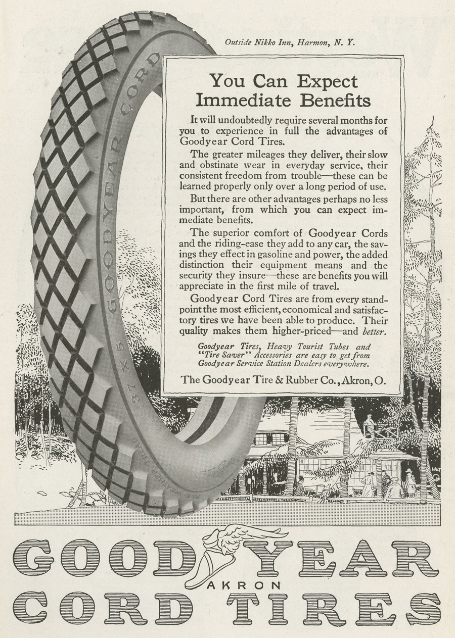 One of two versions of a 1917 Goodyear tire ad featuring the Nikko Inn. Click the image to enlarge it.