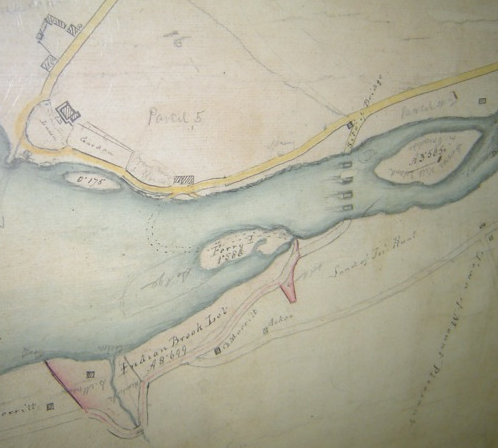 Detail of the lower Croton River from Cartwright's survey map, likely based on his 1837-1838 notebook. Van Cortlandt Manor is in the C-shaped area in the top left. The yellow road running diagonally above it is today South Riverside Avenue.
