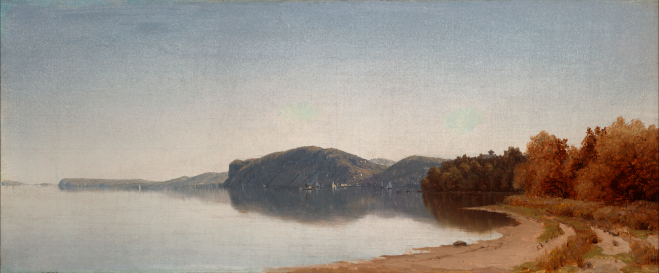 Sanford Robinson Gifford, American, 1823–1880. Hook Mountain, Near Nyack, on the Hudson, 1866. Oil on canvas. Yale University Art Gallery. Click the image to enlarge it.