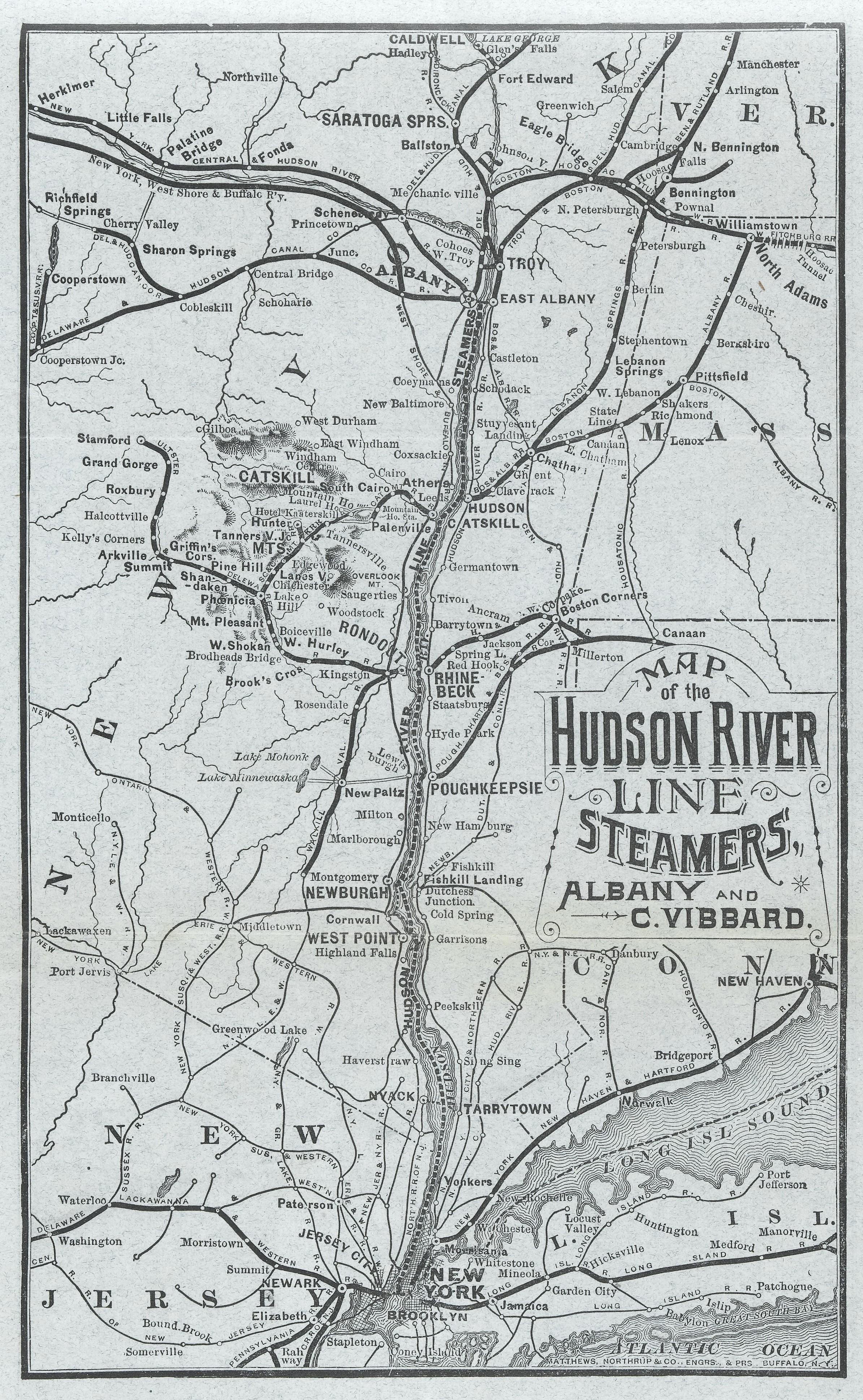 Map Of The Hudson River Line Steamers   CROTON - New york map hudson river
