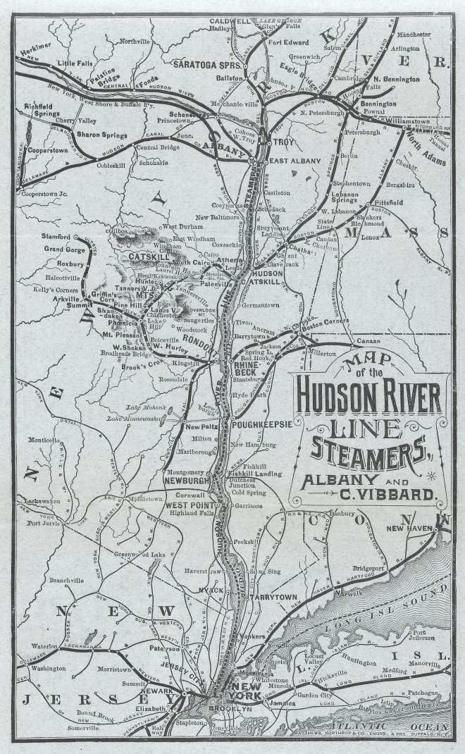 Map of Hudson River Line Steamers, Albany and C. Vibbard. Courtesy of Wellcome Library, London. Click the image to enlarge it.