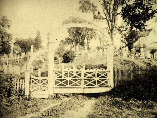 The gateway to Bethel Chapel and Cemetery, circa 1860-1870. This image has been manipulated in Photoshop to make it lighter. The unretouched image is below.