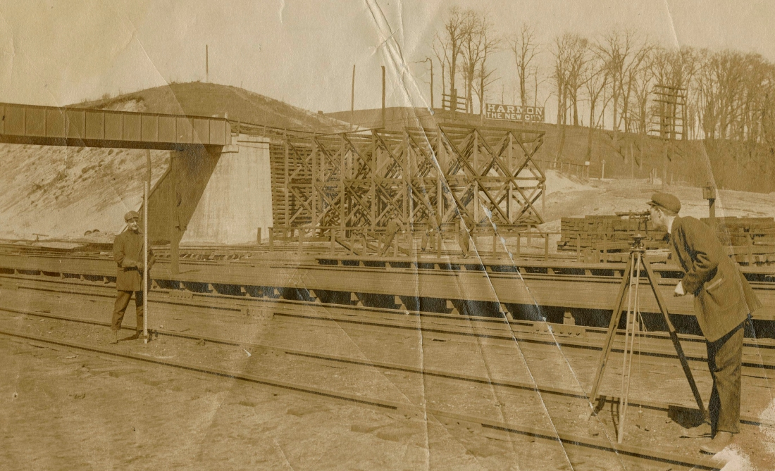 Surveyors working along the tracks at the Harmon Shops, circa 1906. Courtesy of Carl Oechsner.