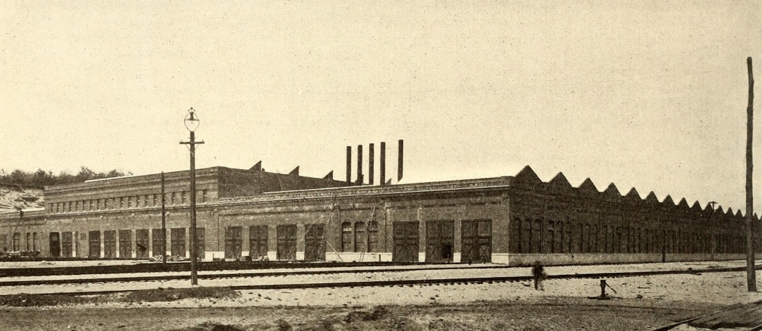 Harmon Shops looking north, with the inspection shed in the foreground, 1907.