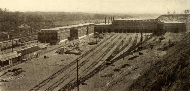 Harmon Shops looking south, 1907.