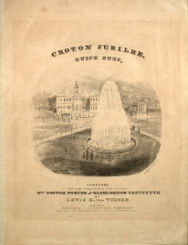 Sheet music of the Croton Jubilee Quickstep, composed by Lewis H. von Vultee. The image is the Croton Fountain in City Hall Park