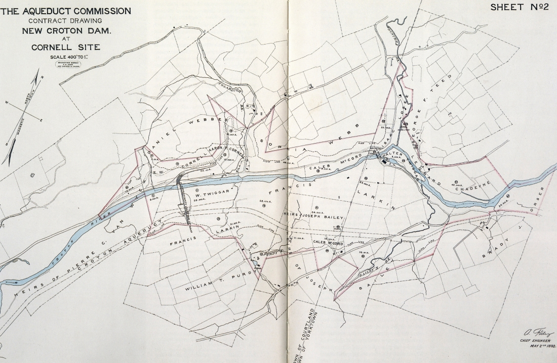 Contract Drawing for the New Croton Dam at Cornell Site, May 2, 1892.