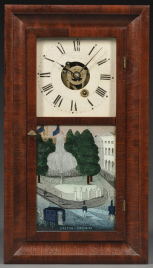 A clock with a painting on glass of the Croton Fountain in City Hall Park.