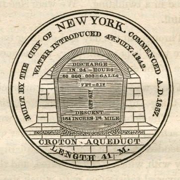 The other side of the design for a commemorative medal made for the occasion. This image is taken from A Memoir of the Construction, Cost, and Capacity of the Croton Aqueduct ... by Charles King, New York: Printed by Charles King, 1843.